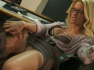 blonde glasses office